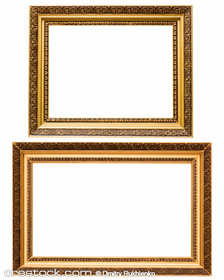Two gold plated wooden picture frames isolated...