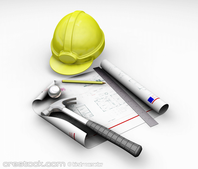3D render of hard hat and blueprint on white b...