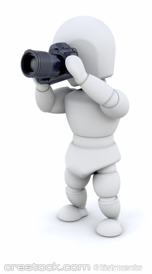 3D render of a man using a camera