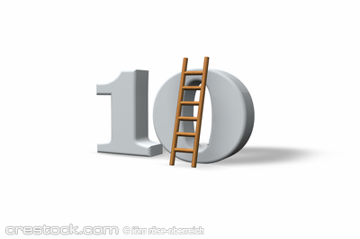 the number ten - 10 -  and a ladder on white b...