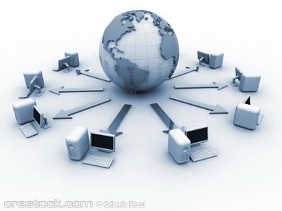 Earth globe surrounded by computers network - ...